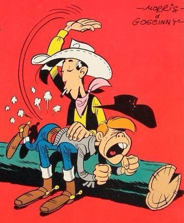 Lucky Luke donne la fessée