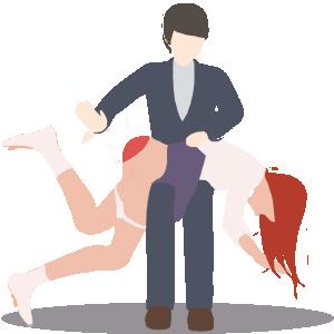 Fille fessée sur les genoux du monsieur